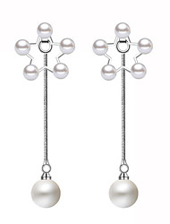 cheap -Women's Pearl Drop Earrings - Dangling Style Classic Friendship British Movie Jewelry Cute Style Fashion Adorable White As Picture