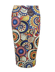 cheap -Women's Daily Beach Going out Holiday Midi Skirts,Street chic Bodycon Milk Fiber Print Summer