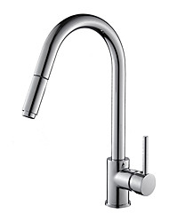 cheap -Modern/Contemporary Art Deco/Retro Fashion Standard Spout Centerset Widespread Rotatable Pull out Ceramic Valve Chrome , Kitchen faucet