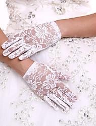 billige -Blonde Håndledslængde Handske Blomsterpigehandsker Med Bjergkrystal