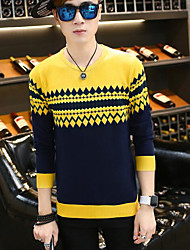 Men's Casual Regular Pullover,Striped Round Neck Long Sleeves Acrylic Fall Medium Micro-elastic