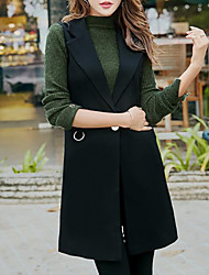 Women's Daily Simple Casual Winter Fall Vest,Solid V Neck Sleeveless Long Polyester