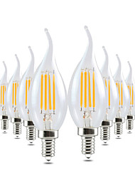 ywxlight® 4w e14 luzes de vela led ca35 4 leds cob dimmable decorativo branco quente 300-400lm 2800-3200k ac 220-240v