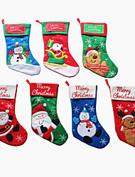 abordables -Noël stocking Santa Claus chaussettes ornement bonbons arbre de noël pendentif pendentif décoration fournitures cadeau (style aléatoire)
