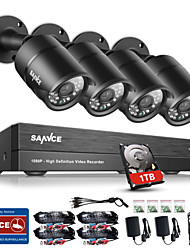 cheap -SANNCE® 8CH CCTV Security System Onvif 1080P AHD/TVI/CVI/CVBS/IP 5-in-1 DVR with 4*2.0MP Night Vision Weatherproof Cameras with 1TB HDD