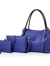 economico -Donna Sacchetti PU (Poliuretano) Tote Set di borsa da 3 pezzi per Casual Formale Per tutte le stagioni Blu Oro Nero Beige