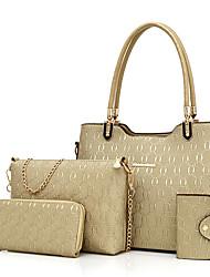 Donna Sacchetti Per tutte le stagioni PU (Poliuretano) sacchetto regola Set di borsa da 4 pezzi per Casual Blu Oro Nero Rosso Beige