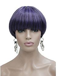 abordables -Pelucas sintéticas Recto Corte Bob / Con flequillo Pelo sintético Morado Peluca Mujer Corta Sin Tapa
