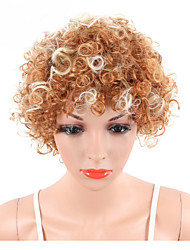 cheap -Short Kinky Curly Wig For European and American Women Naturally Synthetic African Blond Mix White Hair Wig Heat Resistant