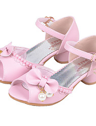 Girls' Flats Comfort Flower Girl Shoes Summer Fall Leatherette Casual Dress Buckle Flat Heel White Blushing Pink Flat