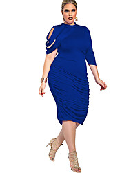 Women's Daily Going out Plus Size Vintage Casual Sexy Bodycon Sheath Dress,Solid Sexy Lady Crew Neck Knee-length Asymmetrical Half Sleeves