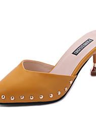 cheap -Women's Slippers & Flip-Flops Comfort Light Soles Summer PU Casual Dress Beading Kitten Heel Beige Yellow 1in-1 3/4in