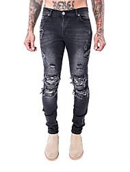 baratos -Homens Casual Moda de Rua Cintura Média Micro-Elástica Justas/Skinny Calças, Poliéster/Algodão Primavera Outono Outro