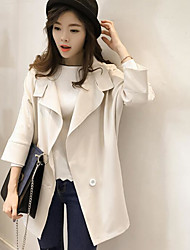 Women's Casual/Daily Birthday Party Casual Spring Fall Coat,Solid V Neck 3/4 Length Sleeve Regular Rayon