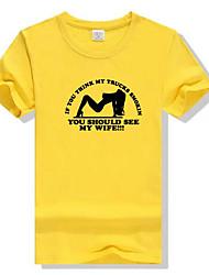 abordables -Hombre Estampado - Algodón Camiseta, Escote Redondo Un Color Letra