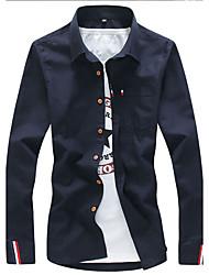 Men Business Casual Simple Shirt,Solid Shirt Collar Long Sleeve Cotton