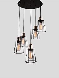 5 testa vintage nero metallo gabbia ombra luci di pendente salotto sala da pranzo sala di illuminazione
