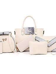 baratos -Mulheres Bolsas PU Conjuntos de saco 6 Pcs Purse Set Cinzento / Roxo / Rosa claro / Conjuntos de sacolas