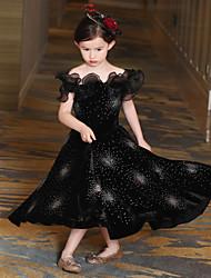 vestito asimmetrico da ragazza di fiore a vento - velluto di raso senza maniche con spalline scintillanti da qz