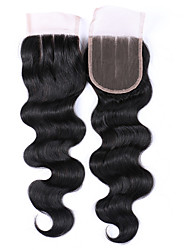 cheap -8-20 Inches Grade 7A Natural Black Body Wave Hair Closures 100% Unprocessed Brazilian Human Hair Free/Middle/3 Part 4x4 Swiss Lace Top Closures