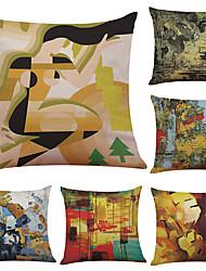 cheap -6 pcs Linen Cotton/Linen Pillow Case Pillow Cover, Textured Beach Style Bolster Traditional/Classic