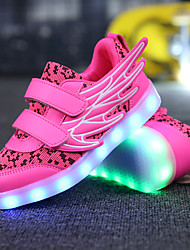 cheap -Girls' Shoes Breathable Mesh Microfibre Spring Light Up Shoes Novelty Comfort Sneakers Track & Field Shoes LED for Casual Outdoor White