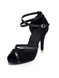 Недорогие -Для женщин Латина Искусственное волокно Синтетика На каблуках Для закрытой площадки На шпильке Черный 6 см 7,5 см 8,5 см Персонализируемая