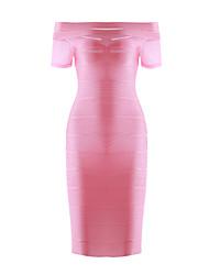 abordables -Mujer Corte Bodycon Vaina Vestido Fiesta Noche Casual Sensual,Un Color Escote Barco Sobre la rodilla Manga Corta Prendas de punto Verano