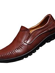 cheap -Men's Loafers & Slip-Ons Light Soles Spring Fall Cowhide Walking Shoes Casual Flat Heel Black Light Brown Burgundy 2in-2 3/4in