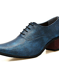 Men's Shoes PU Spring Fall Comfort Oxfords For Outdoor Black Silver Red Blue
