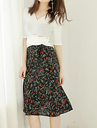 Women's Casual/Daily Knee-length Skirts Relaxed Print Summer