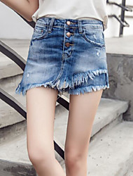 cheap -Women's Mid Rise Micro-elastic Straight Jeans Shorts Pants,Casual Solid Summer