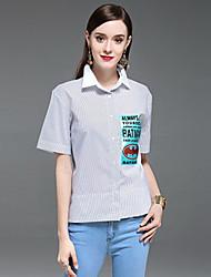 Dámské Proužky Běžné/Denní Jednoduché Košile Bavlna Košilový límec Krátký rukáv