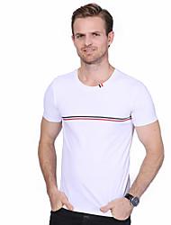 Men's Plus Size Casual Cross Bar Cotton Short Sleeve T-Shirt Solid Round Neck Short Sleeve Cotton Spandex Medium
