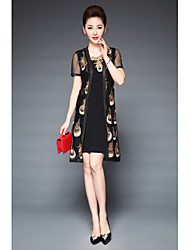 cheap -YBKCP Women's Plus Size Vintage Sophisticated Street chic Slim Sheath Dress - Embroidered, Artistic Style