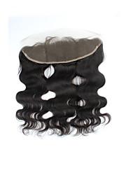 Недорогие -Завод прямые продажи натуральный черный бразильский remy человеческий волос швейцарский кружевной закрытие тела волна свободная часть 13 *