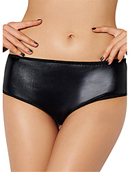 cheap -Women's Sexy PU Leather Lingerie Ultra-thin Briefs Low Waist Nightwear Panties Plus Size M-6XL