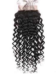 1 pcs livre parte 4x4 brasileira profundamente encaracolado laço fechamento cabelo cheio virgem remy cabelo branqueado nó top fechamentos