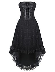 Shaperdiva Gothic Steampunk Lace Up Overbust Corset Dress With Zipper