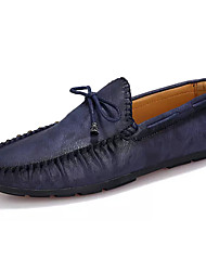 Men's Boat Shoes Moccasin Spring Rubber Outdoor Flat Heel Brown Blue Under 1in