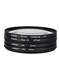 Andoer 67mm UV CPL Close-Up4 Star 8-Point Filter Circular Filter Kit Circular Polarizer Filter Macro Close-Up Star 8-Point Filter with Bag for Nikon