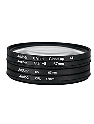 Andoer 67mm uv cpl close-up4 stella filtro a 8 punti filtro circolare kit filtro circolare polarizzatore macro close-up star filtro a 8