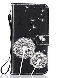 baratos -Caso para maçã iphone 7 7 mais capa cartão titular carteira rhinestone com stand flip pattern corpo inteiro dandelion hard pu couro para 6