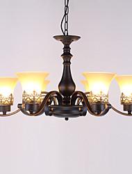 economico -Sei teste amercian campagna metallo d'epoca con lampada a sospensione in vetro per la sala mensa / soggiorno / ingresso / foyer decorare
