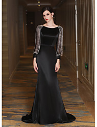cheap -Mermaid / Trumpet Jewel Neck Sweep / Brush Train Satin Taffeta Formal Evening Dress with Bandage Tassel by QZ