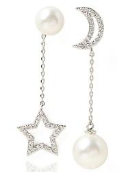 Drop Earrings New Mismatching Asymmetry Earrings Fashion Pearl Moon Star Shape Rhinestone For Women Movie Gift Jewelry