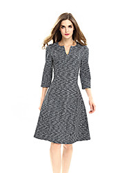 Womens Elegant Summer Contrast Patchwork Cutout Tunic Work office Vintage Casual Party Fit and Flare Skater Dress D0624