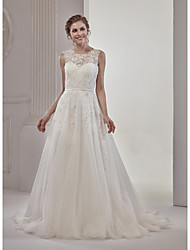 cheap -A-Line Illusion Neckline Court Train Tulle Over Lace Wedding Dress with Appliques Lace by Marrica