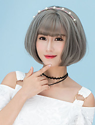 Cheap Women Synthetic Wigs Short Dark Chestnut Brown Grey Straight Middle Part Bob Haircut With Bangs Natural Lolita Wig