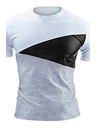 Tee-shirt Homme,Couleur Pleine Décontracté / Quotidien simple Actif Toutes les Saisons Manches Courtes Col Arrondi Coton Polyester Moyen